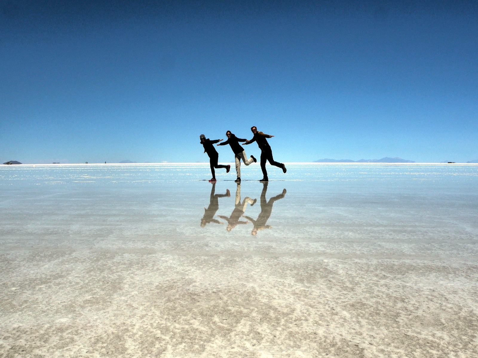 Un trio de flamants de passage au salar d'Uyuni
