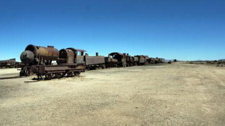 Au cimetière de trains d'Uyuni