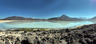 Panorama de la laguna blanca, Sud Lipez