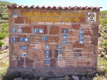 Signalétique dans le parc de Toro Toro