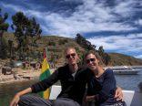 Elise et Julien sur le bateau alors qu'on repars de l'Isla de la Luna en direction de l'Isla del Sol