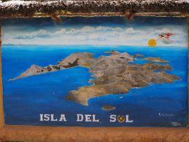 Panneau représentant l'Isla del Sol