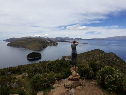Julien en haut de l'Isla del Sol