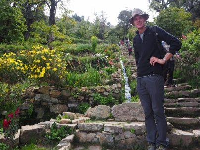 Julien en bas de l'escalier Inca de l'Isla del Sol