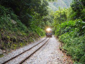 Passage de train sur la voie ferrée en direction d'Aguas Calientes