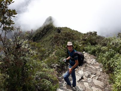 Julien lors de la redescente de la Montana, Machu Picchu
