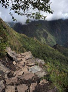 Les marches lors de la descente de la Montana, Machu Picchu