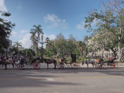 Carioles au Parque Central, La Havane