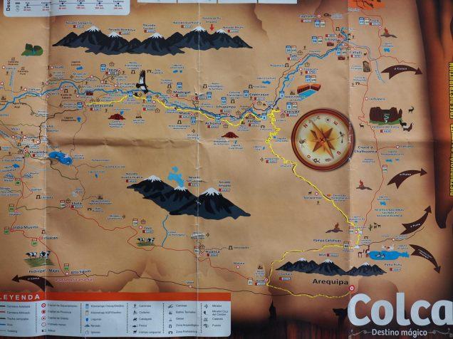Carte de la région de la Colca (surligné en jaune, notre parcours)