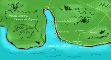 Carte des spots de plongée de la baie des Cochons