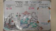 Affiche à la gare de Trinidad pour le train de découverte de la vallée de los Ingenios