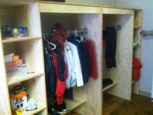 Picture of one of the wardrobes installed and being used by the boys.