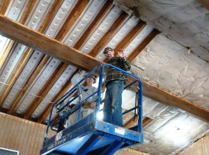 Wayne and George installing new ceiling veting and insulation after removing old, wet, moldy, nasty insulation.