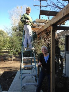 The ladies cleaned up and stained the arbor for one of the staff houses.
