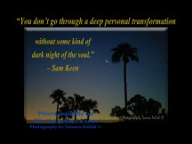 """""""You don't go through a deep personal transformation without some kind of dark night of the soul."""" – Sam Keen. One of the quotes which is included in the book """"On Becoming a Lemonade Maker"""" by Tamara Kulish. The new moon was hanging in the sky seemingly beside a tall palm tree in Tucson Arizona one evening at sundown."""