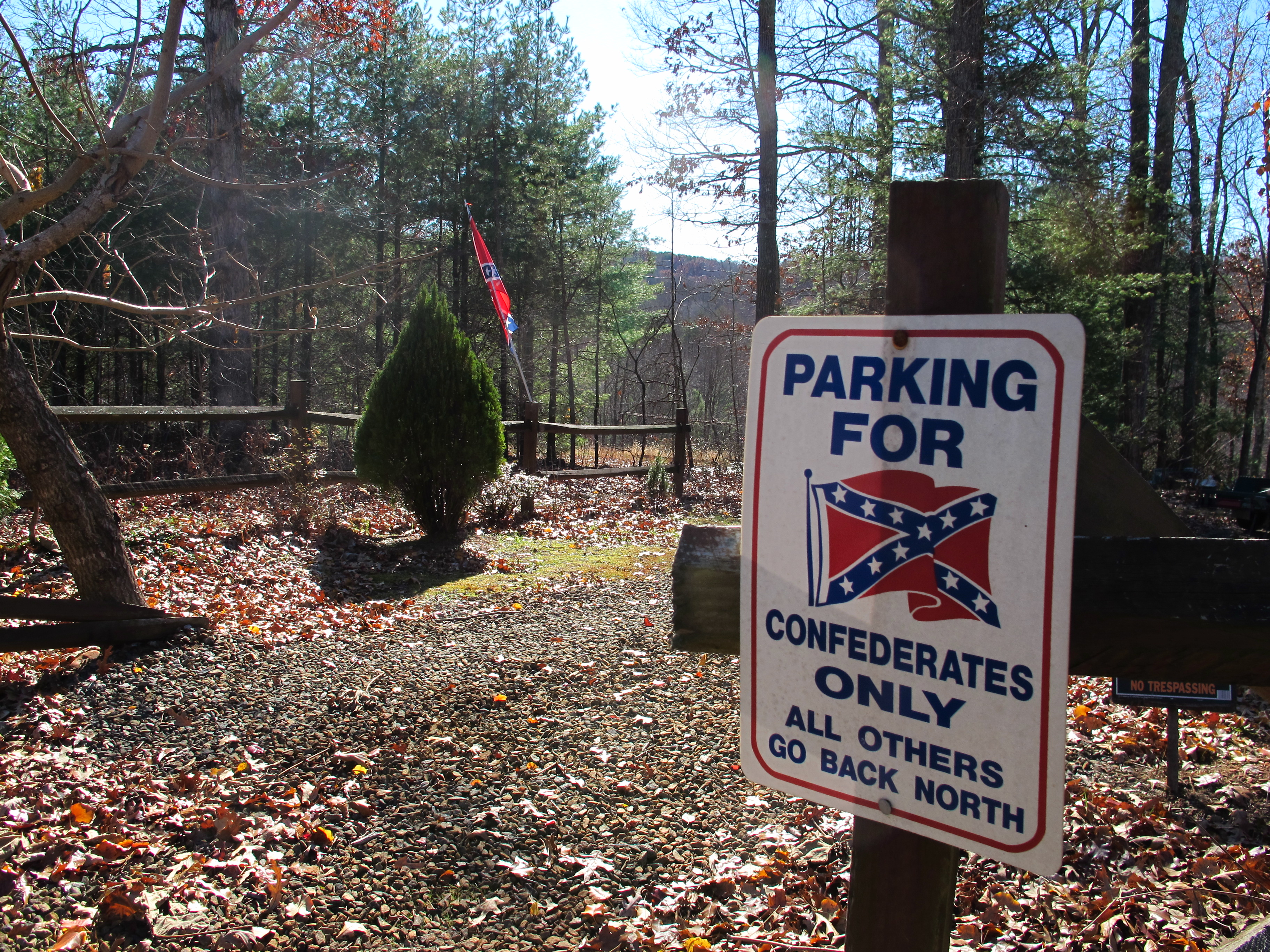 A Confederates Only parking sign