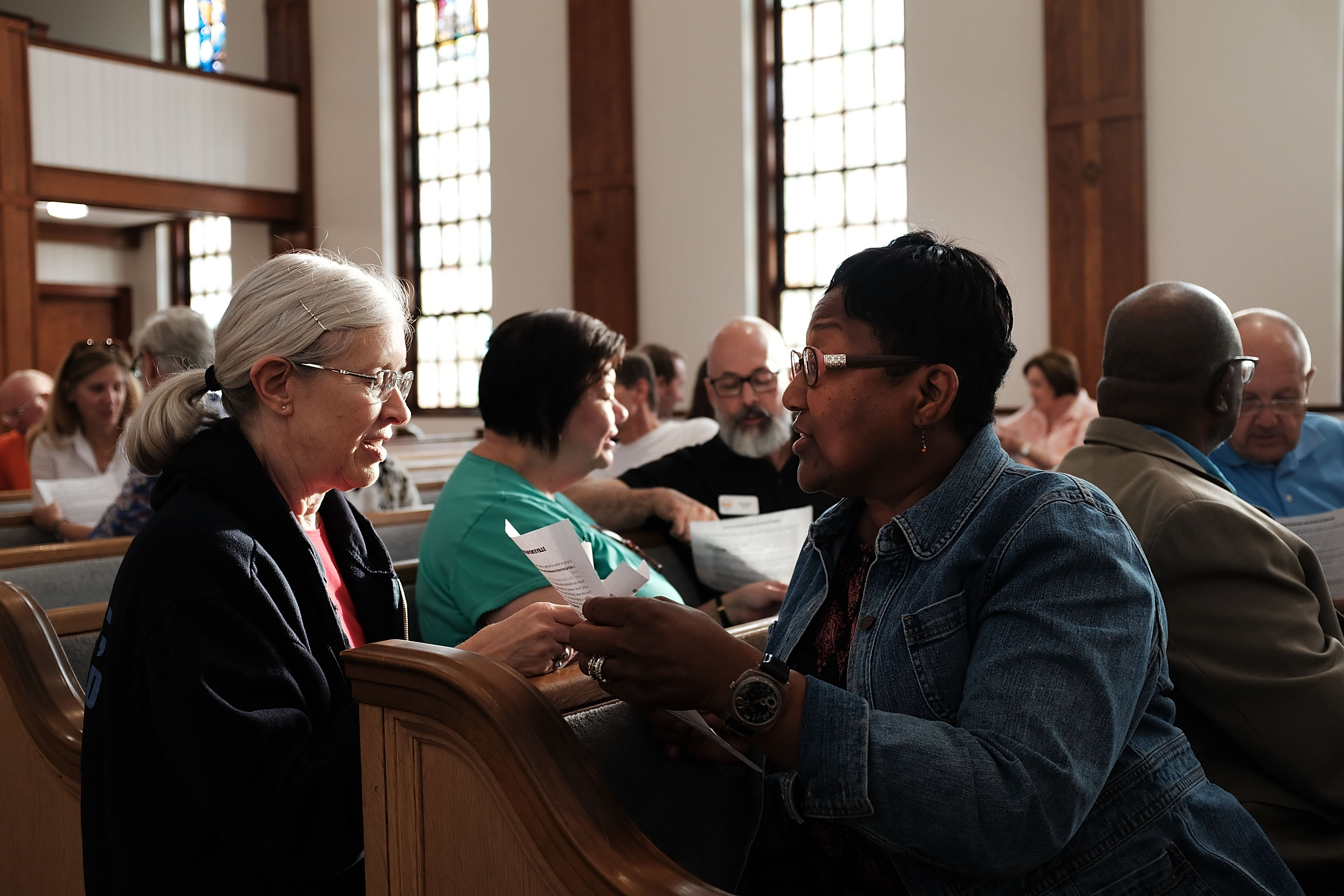 Knoxville residents participate in a service of prayers and hymns for peace in advance of a planned white supremacist rally and counter-protest around a Confederate memorial monument on August 25, 2017 in Knoxville, Tennessee.