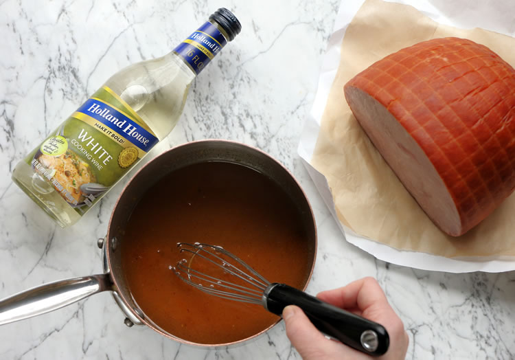 Making the Glaze For Peaches, Honey And Wine Glazed Ham With Thyme