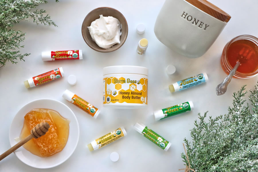 lip balma and body balm made of organic honey and ingredients non-GMO