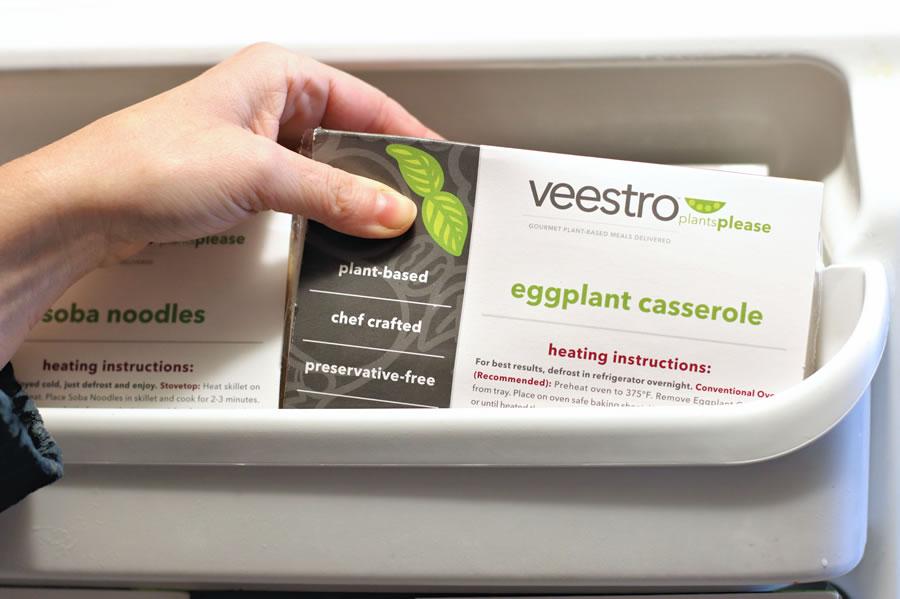 Veestro meal in the freezer door