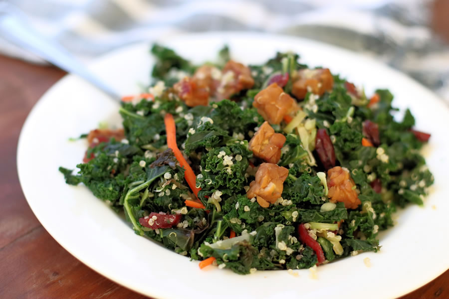 Veestro Kale Salad with tempeh cranberries pecans quinoa carrots tamari dressing