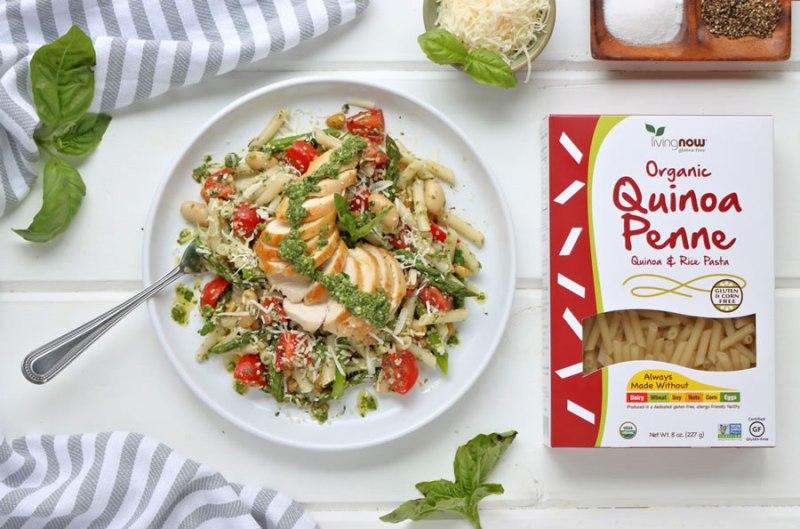 Healthy Gluten-Free Chicken Basil Pesto Pasta Recipe With Now Foods Organic Quinoa Penne Pasta