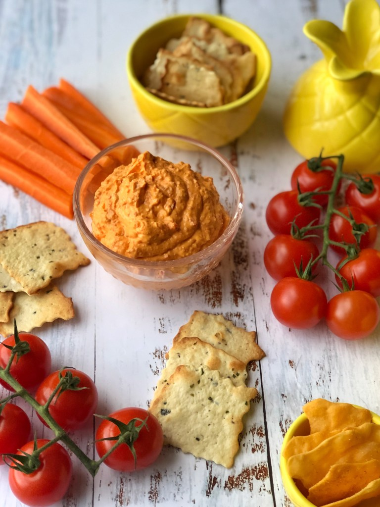 Sweet pepper feta dip flatlay.