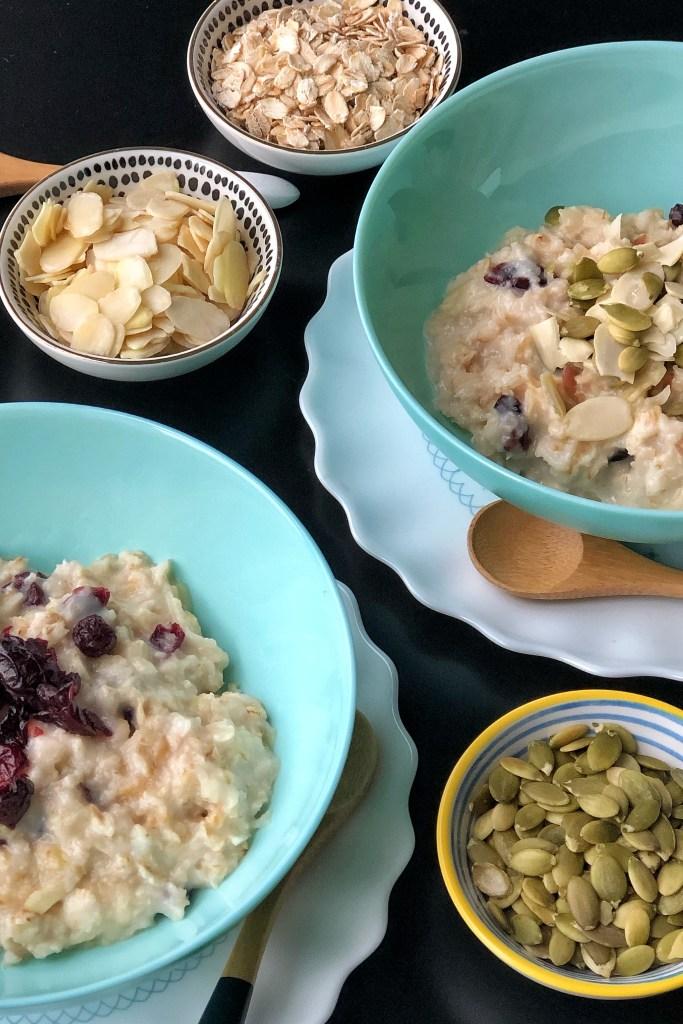 Kombucha overnight oats in blue bowls.