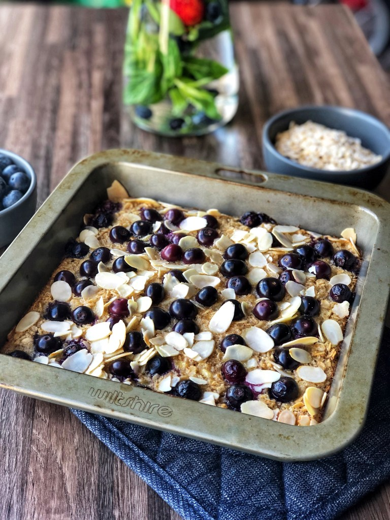 Berry baked oatmeal in a pan.