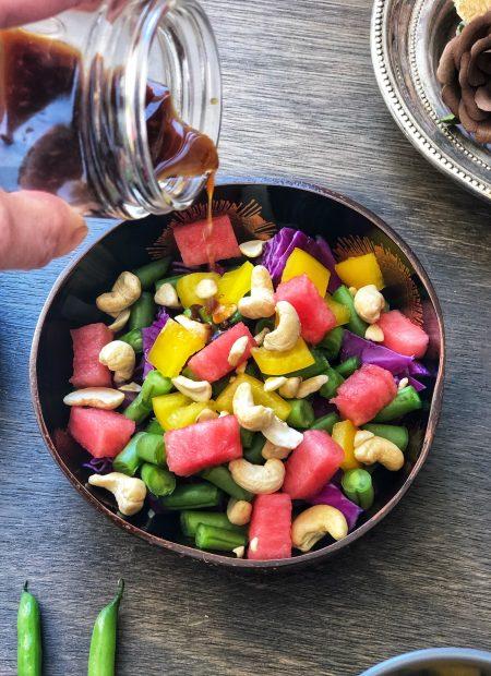 Rainbow salad in a bowl.