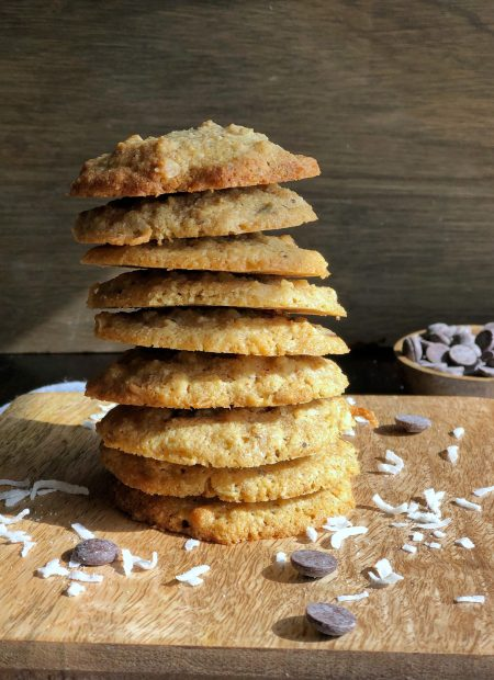 Healthy chocolate chip cookie stacked.