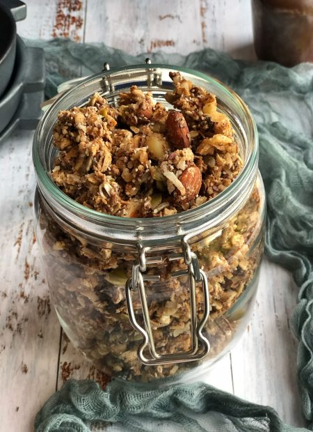 Supercharged healthy cookie granola in a jar.