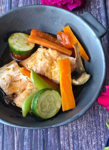 Easy steamed teriyaki salmon in a grey bowl.