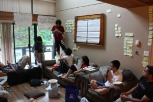 Members of the 180th Pacific Coast Rover Crew in midst of planning