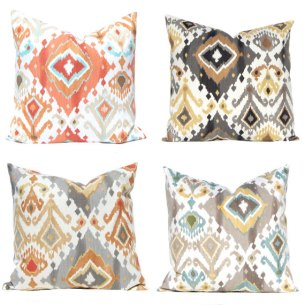 Ikat Pillow Covers Available in 4 Colors.