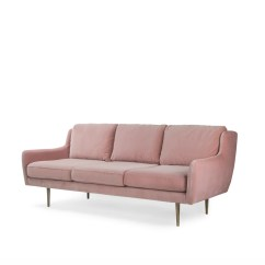 Feather Filled Sofas Second Hand Sofa For Tall Person Uk 2 Seater In Blush Pink Velvet With Brass Leg Big
