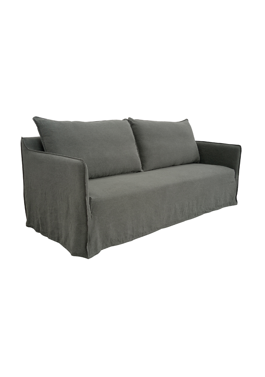 luxe 2 seat sofa slipcover charity collection edinburgh george st 100 linen seater grey sofas by presale onceit