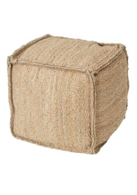Hallady Square Pouf - Natural Jute/Grey Cotton - Urban ...