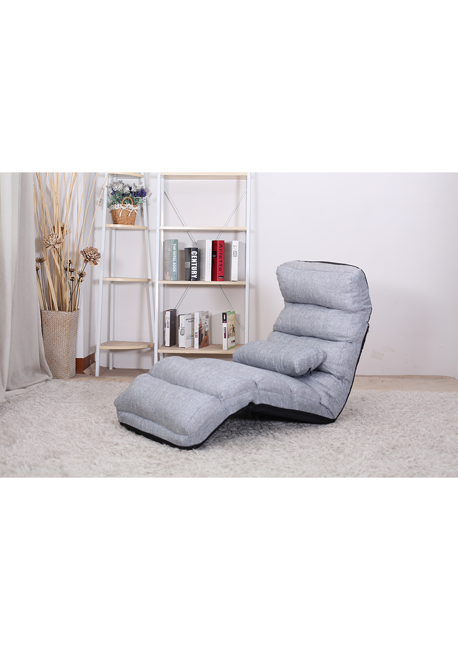 Floor Lounge Chair Floor Folding Sofa Lounge Chair W Pillow Gray