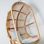 General Eclectic Woodstock Hanging Rattan Chair With Cushion Natural Rattan Living Onceit