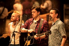 Landmark Productions presents Once at the Olympia Theatre, 30 June - 26 August, 2017 oncemusical.ie L-R Rickie O'Neill as Svec, Brian Gilligan as Guy and Phelim Drew as Billy Photo:Patrick Redmond