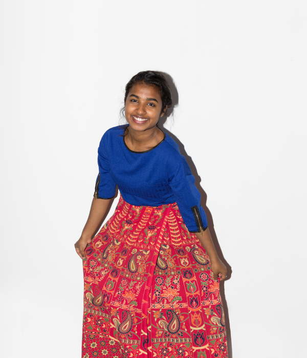 """""""Not having easy access to home makes me grateful for things that connect me to my roots. This wrap skirt, which was the culmination of my first ever successful bargain at a cheap street market in Mumbai, makes me feel happy and bright and very, very Indian."""" - Shreya Shreeraman #CELEBRATEWOMEN"""