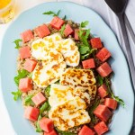 A plate of watermelon and halloumi salad