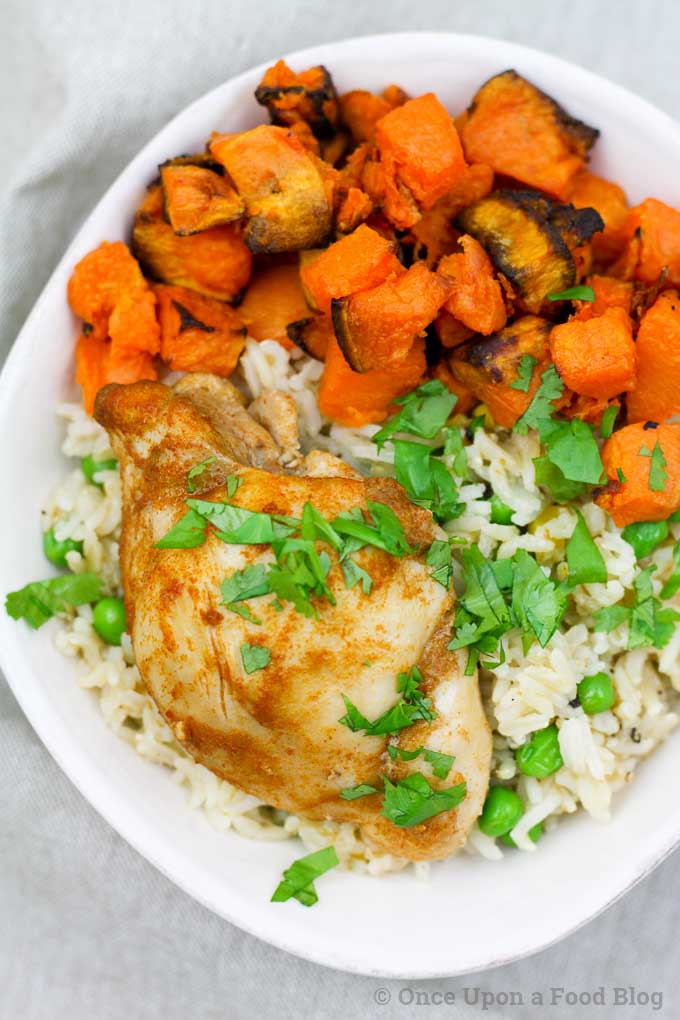 Baked Chicken and Sweet Potatoes with Garlic Rice Bowl