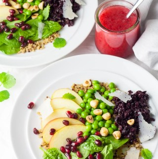 Vegan Autumn Salad with Smashed Beets and Autumn Raspberry Vinaigrette