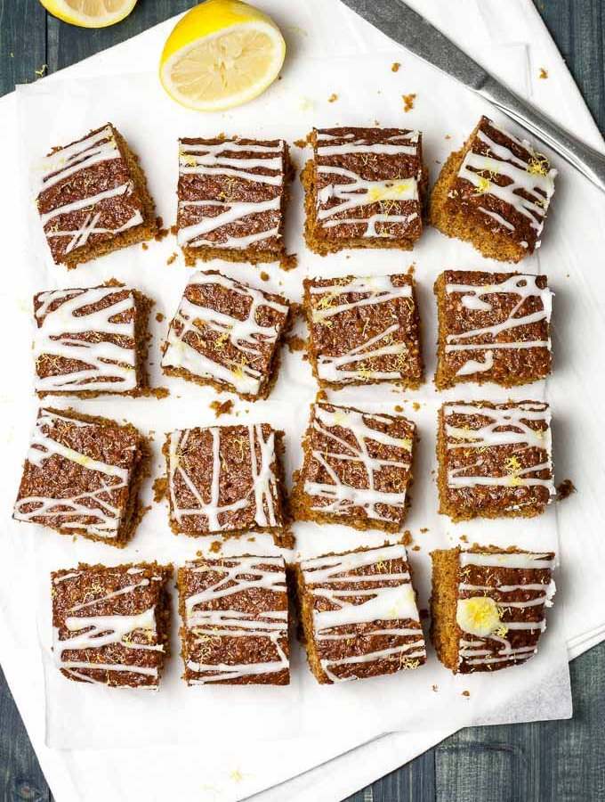 Sticky Ginger Cake with Tangy Lemon Icing