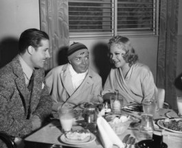 Don Ameche, Peter Lorre and Sonja Heine at the Fox commissary