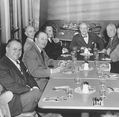 Walt Disney having lunch in the Studio Commissary.