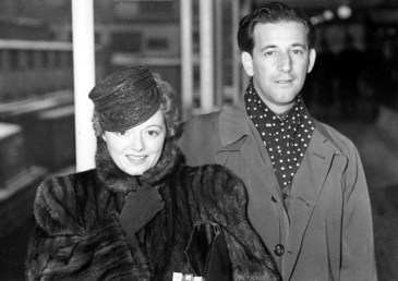 Janet Gaynor with second husband Adrian as they leave on a West Indies Cruise in 1939