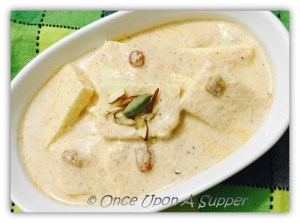 Afghani Paneer -- soft cottage cheese in a dreamy white Afghani sauce